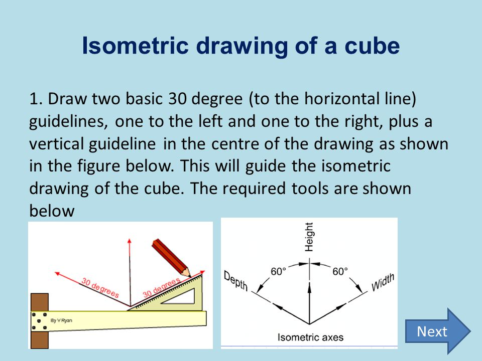 Isometric drawing of a cube