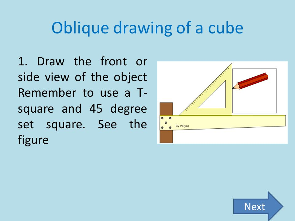 Oblique drawing of a cube