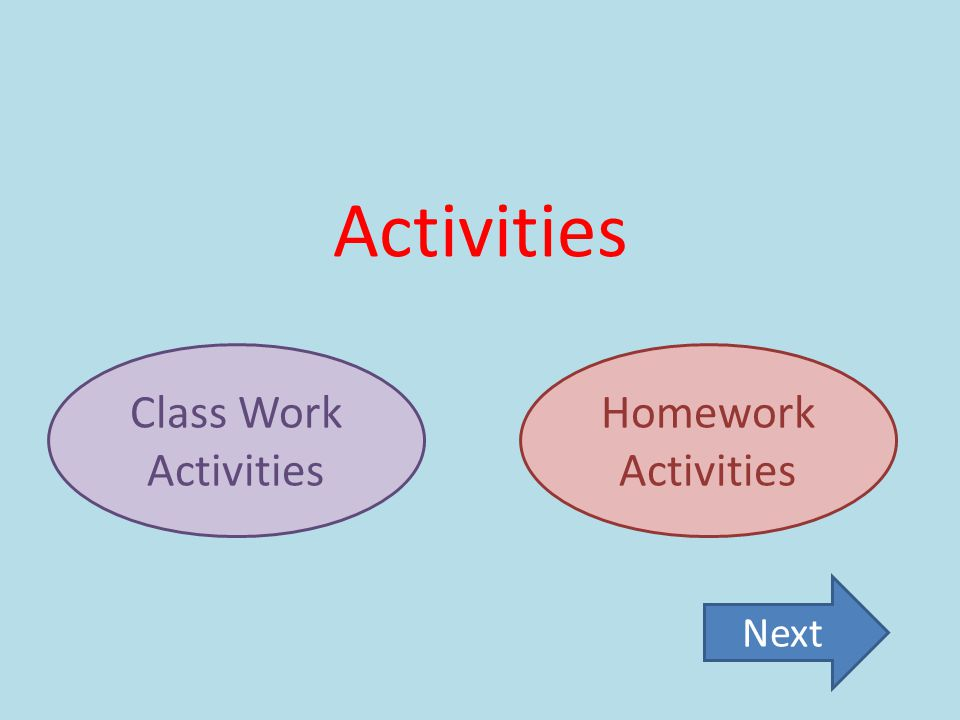 Activities Class Work Activities Homework Activities Next
