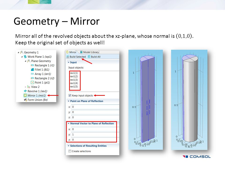 Geometry – Mirror Mirror all of the revolved objects about the xz-plane, whose normal is 0,1,0 .