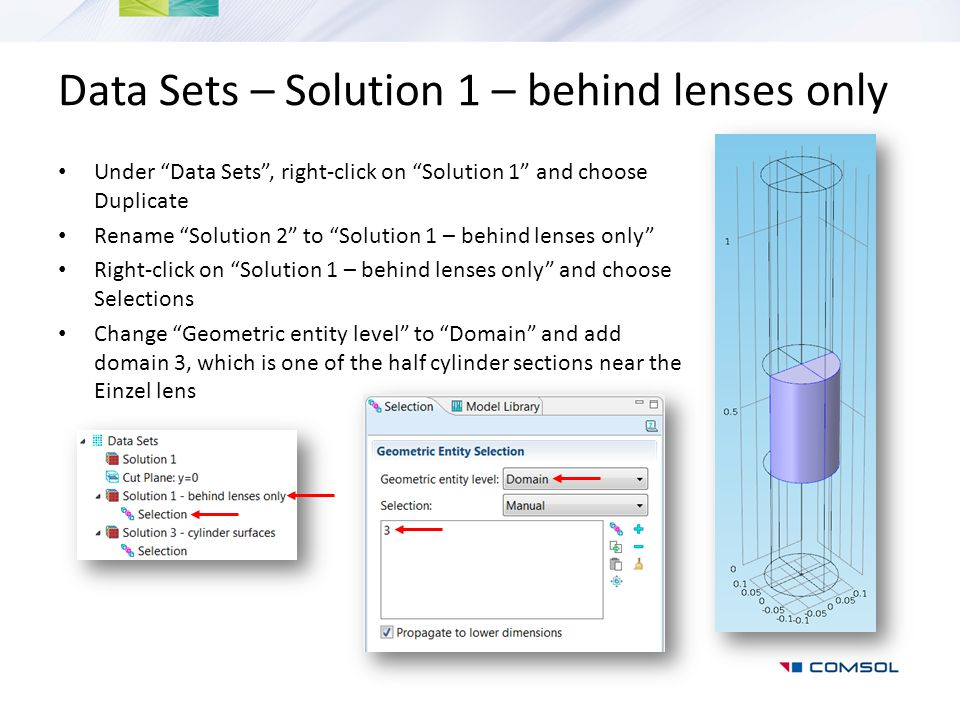 Data Sets – Solution 1 – behind lenses only