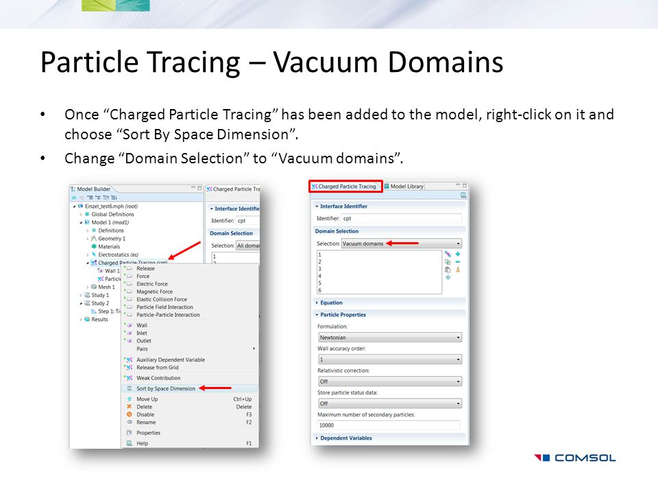 Particle Tracing – Vacuum Domains
