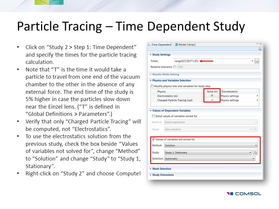 Particle Tracing – Time Dependent Study