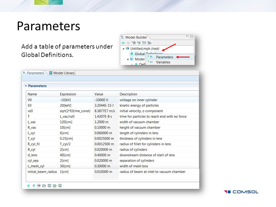 Parameters Add a table of parameters under Global Definitions.