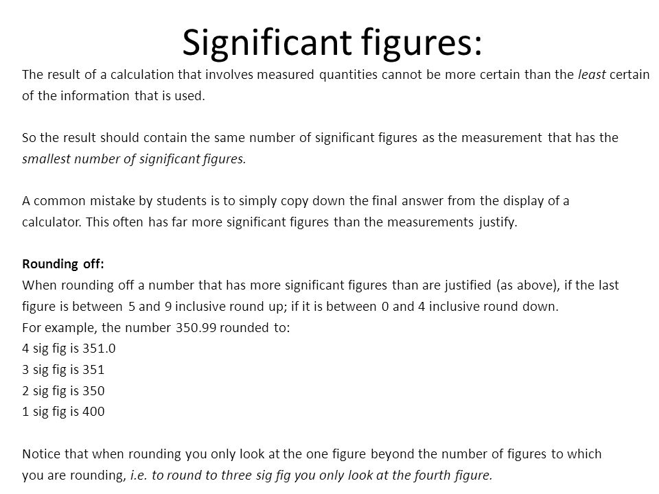 Significant figures: