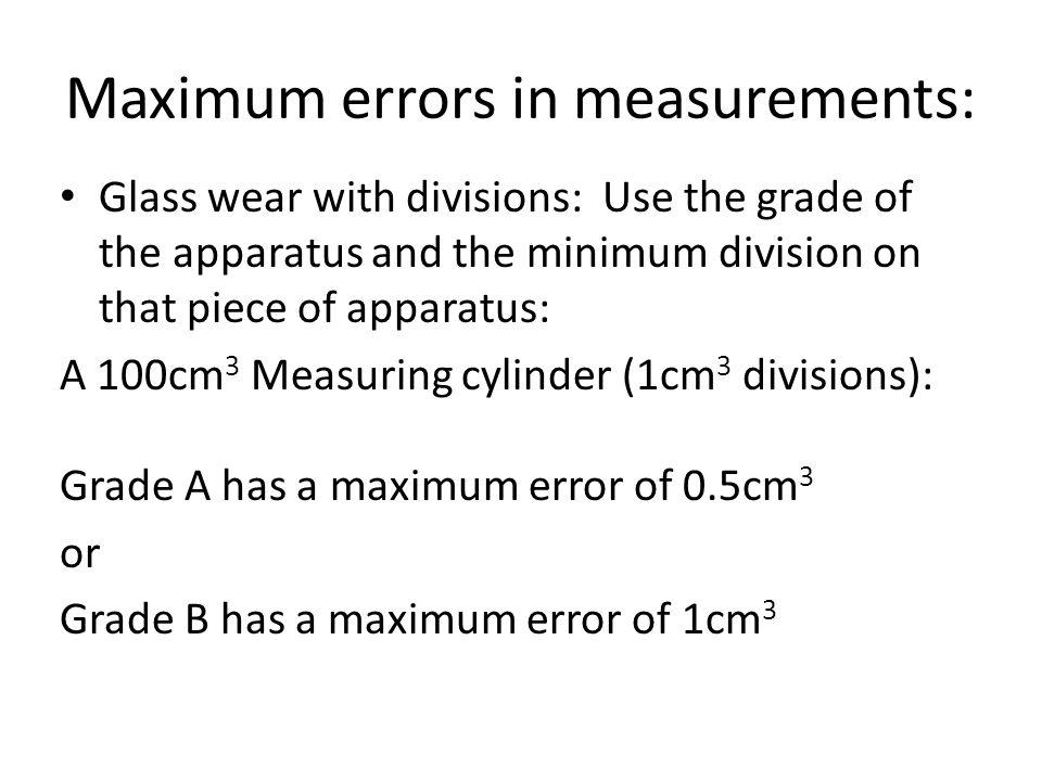 Maximum errors in measurements: