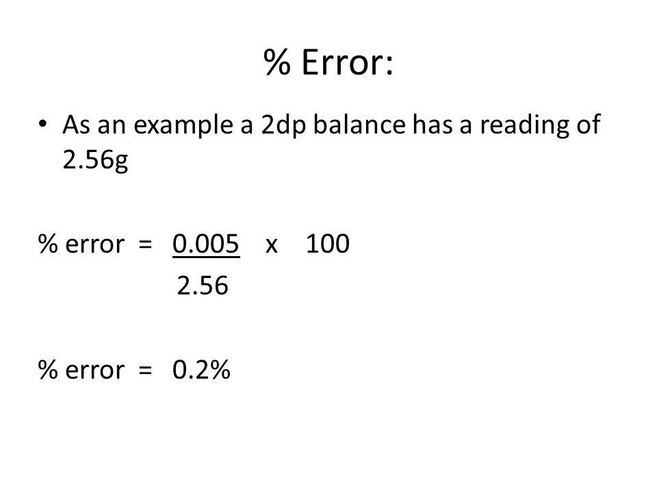 % Error: As an example a 2dp balance has a reading of 2.56g