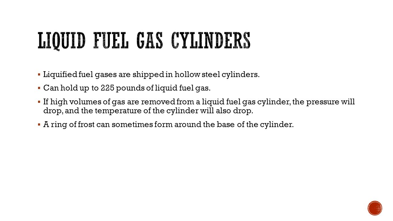 Liquid fuel gas cylinders