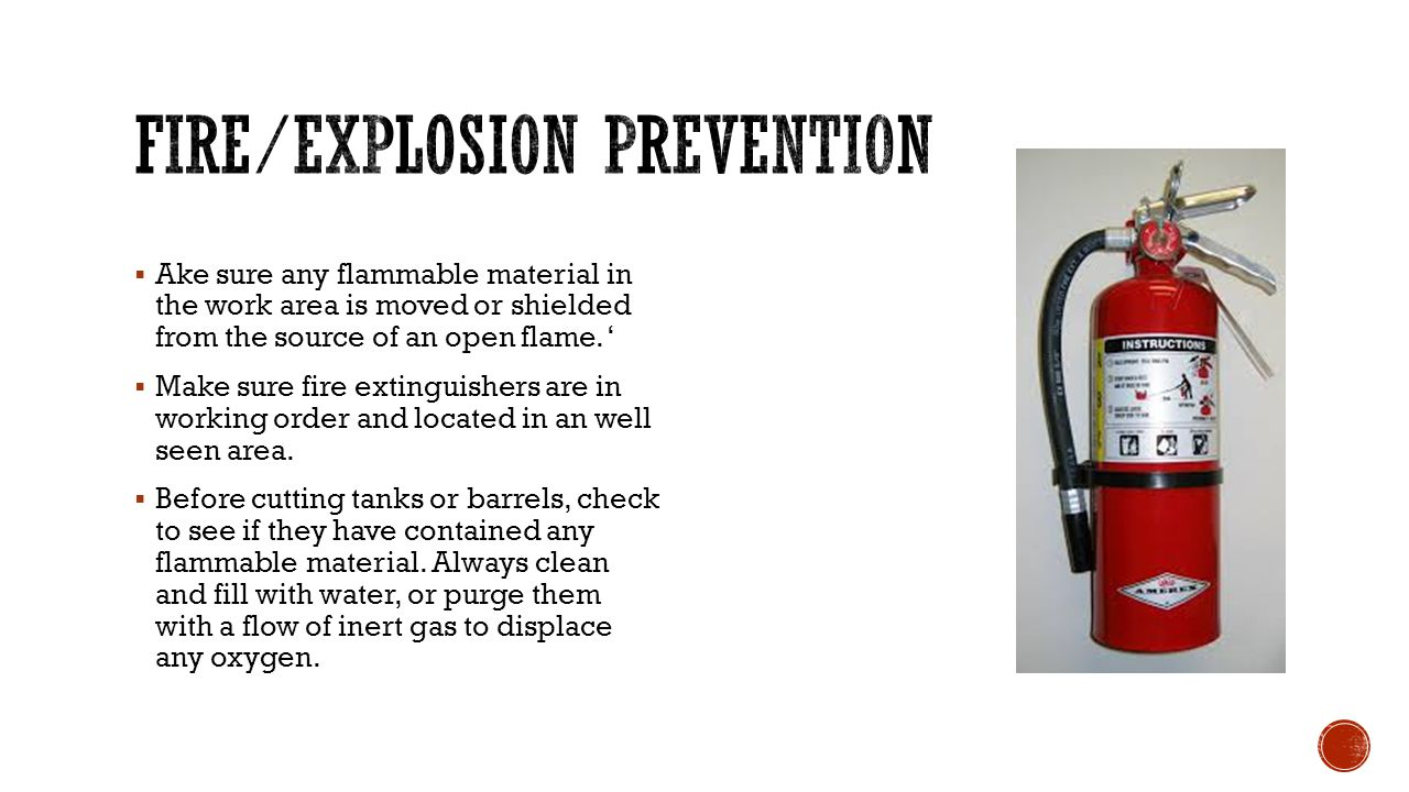 Fire/explosion prevention