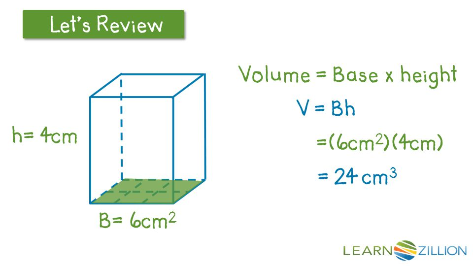Volume = Base x height V = Bh =(6cm2)(4cm) = 24 cm3