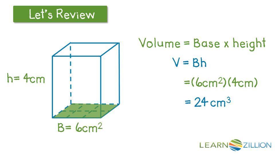 Volume = Base x height V = Bh =(6cm2)(4cm) = 24 cm3