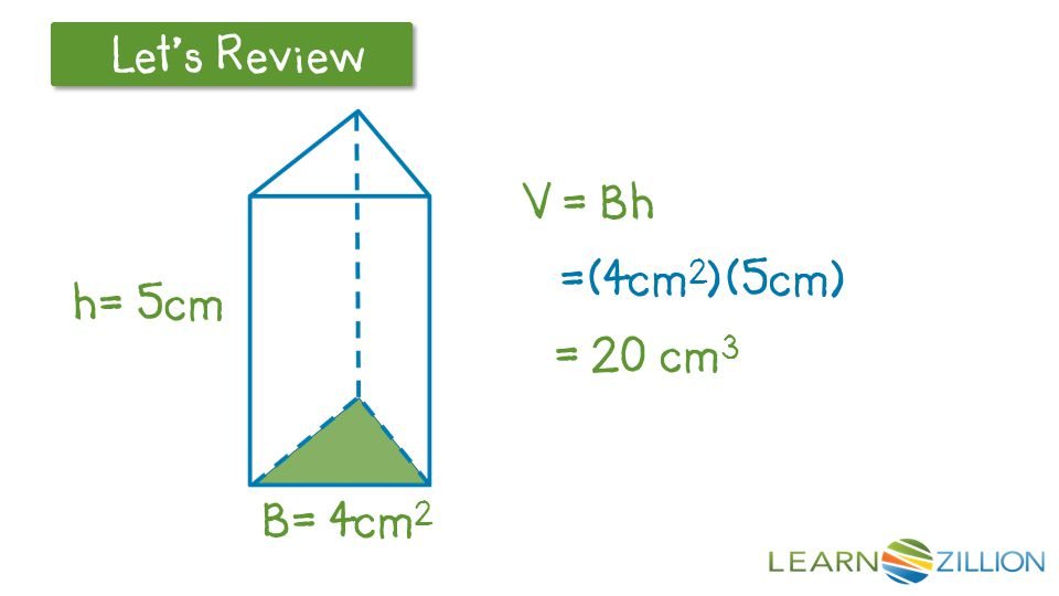 V = Bh =(4cm2)(5cm) = 20 cm3 LearnZillion Notes: