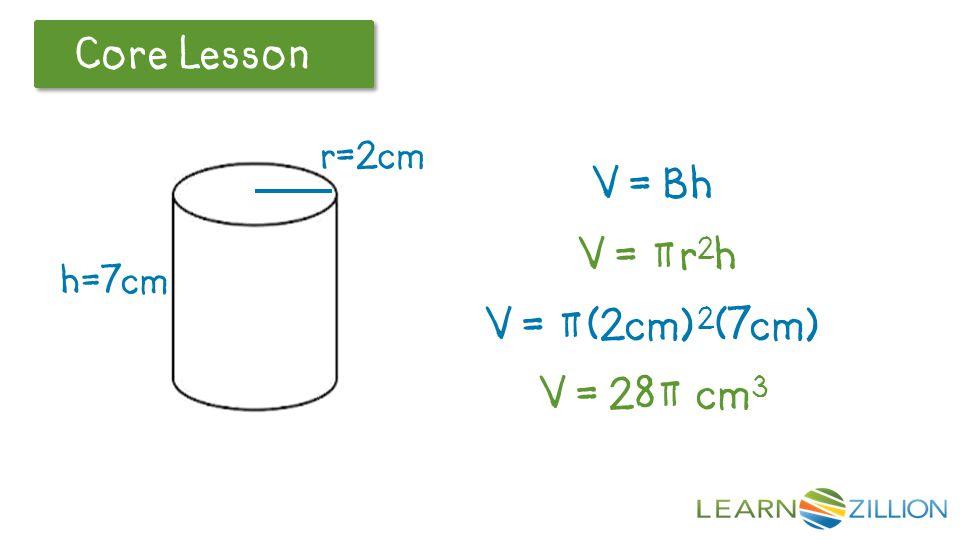 V = Bh V = πr2h V = π(2cm)2(7cm) V = 28π cm3