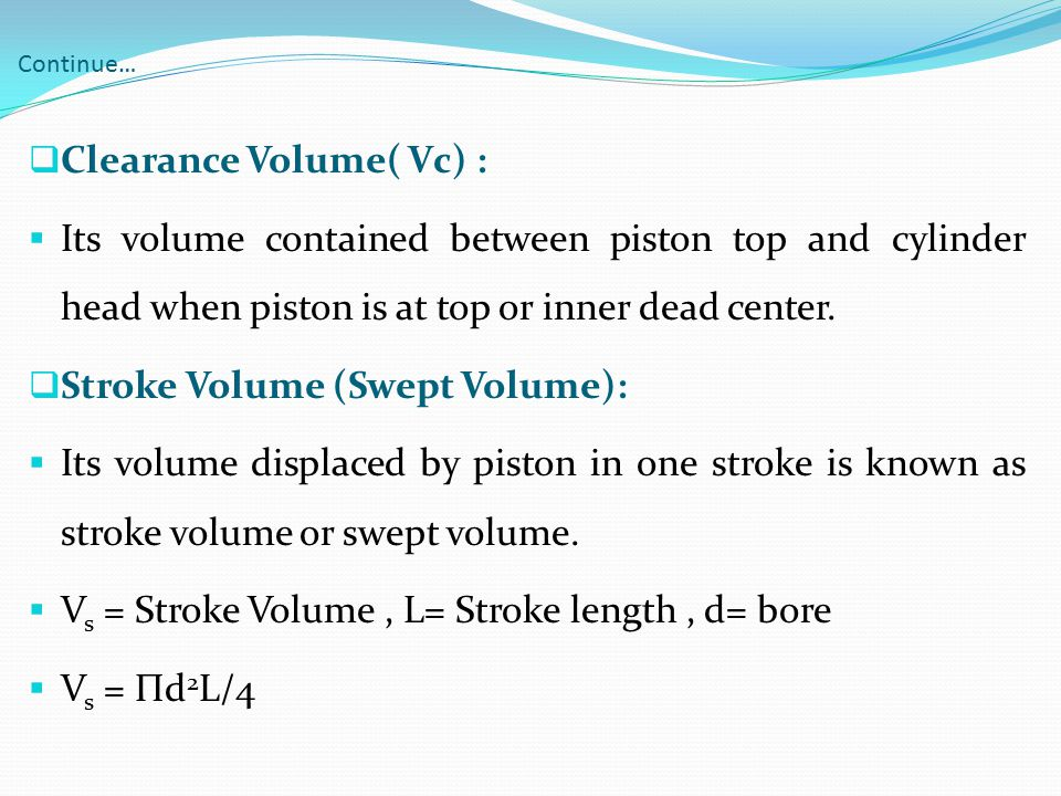 Clearance Volume( Vc) :