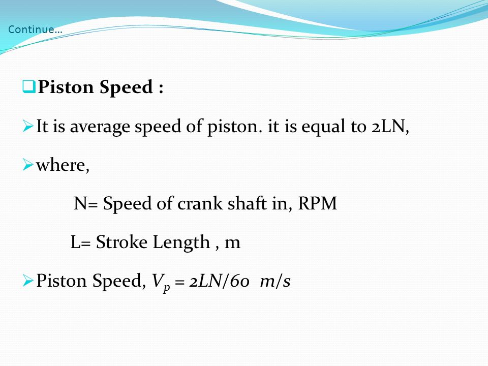It is average speed of piston. it is equal to 2LN, where,