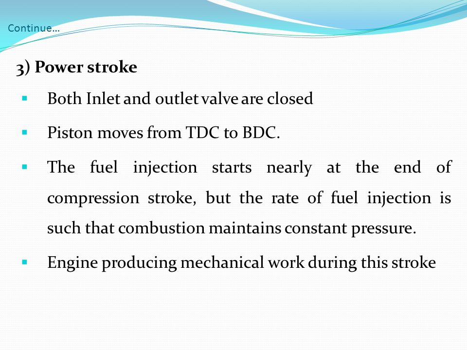 Both Inlet and outlet valve are closed Piston moves from TDC to BDC.