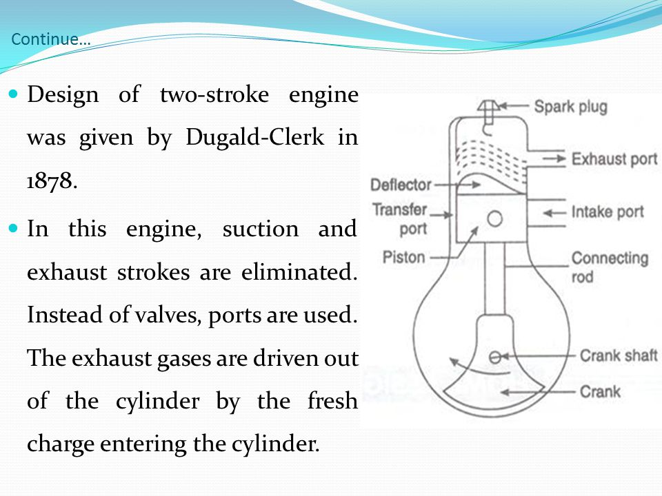 Design of two-stroke engine was given by Dugald-Clerk in 1878.
