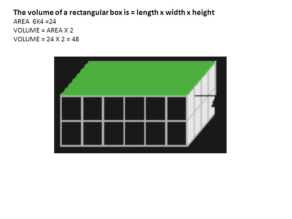 The volume of a rectangular box is = length x width x height