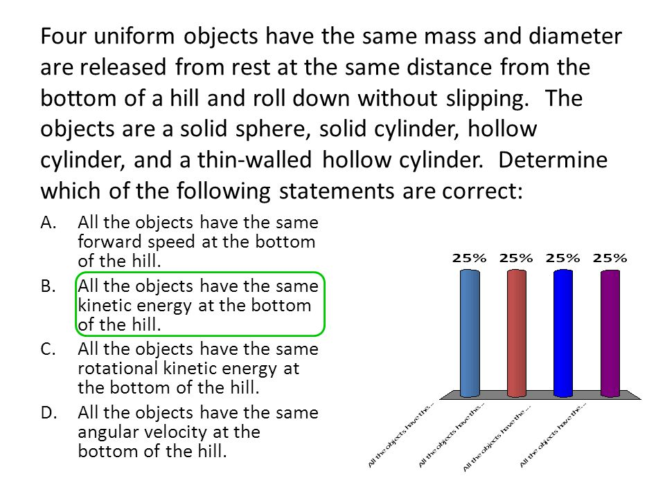 Four uniform objects have the same mass and diameter are released from rest at the same distance from the bottom of a hill and roll down without slipping. The objects are a solid sphere, solid cylinder, hollow cylinder, and a thin-walled hollow cylinder. Determine which of the following statements are correct: