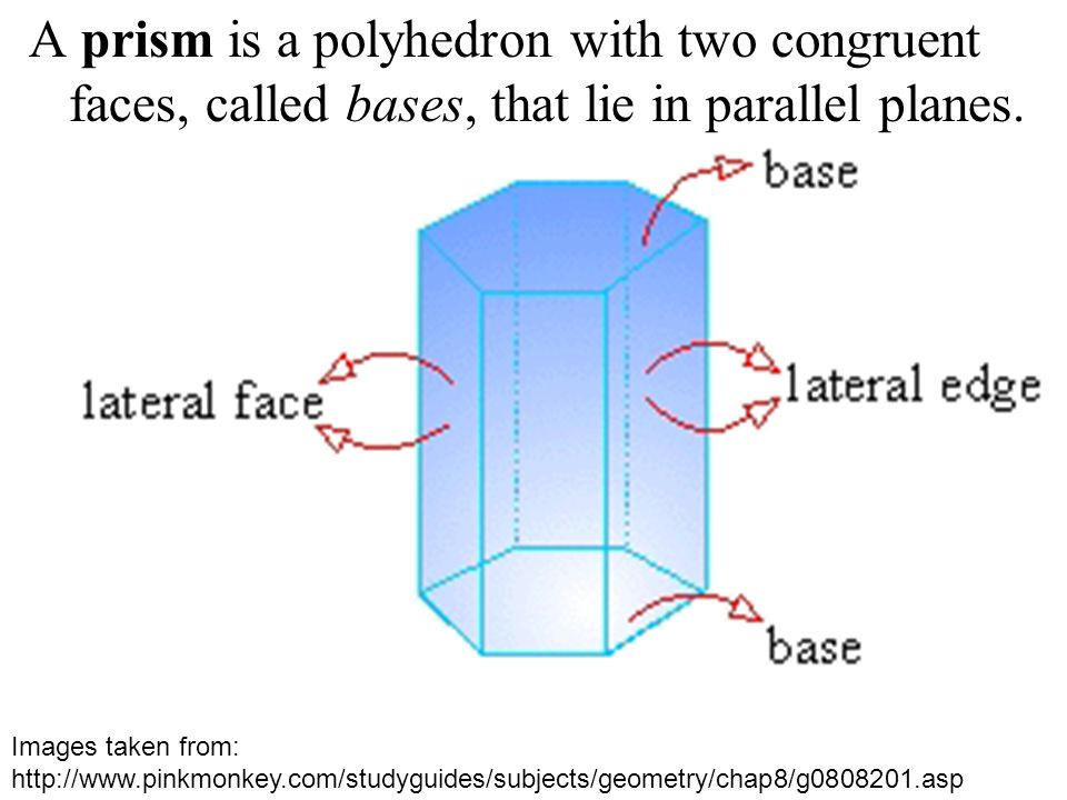 A prism is a polyhedron with two congruent faces, called bases, that lie in parallel planes.