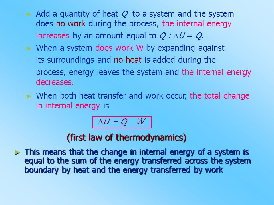 (first law of thermodynamics)
