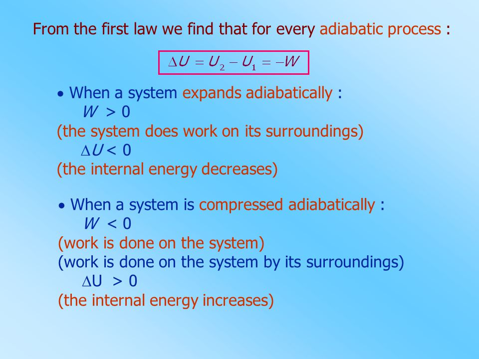From the first law we find that for every adiabatic process :