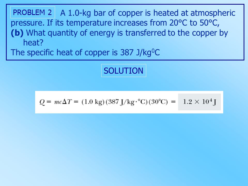 A 1.0-kg bar of copper is heated at atmospheric