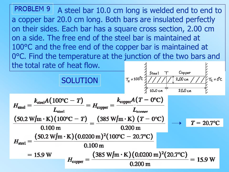 A steel bar 10. 0 cm long is welded end to end to a copper bar 20