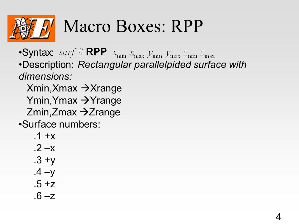 Macro Boxes: RPP Syntax: