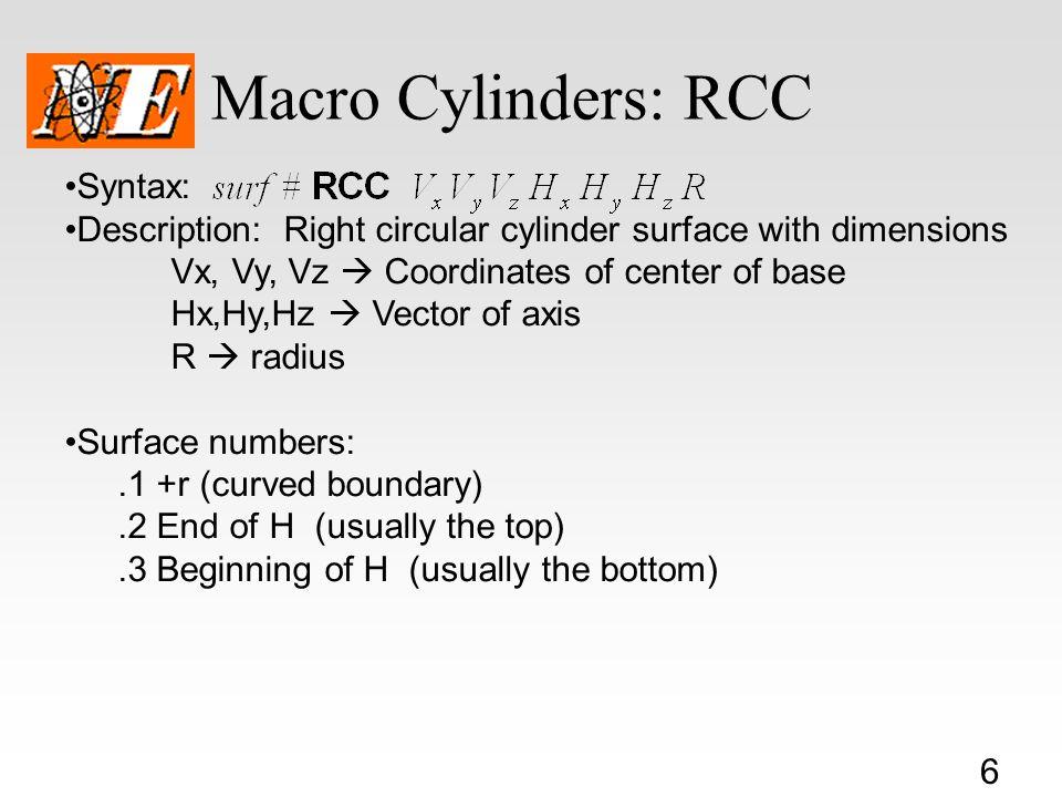 Macro Cylinders: RCC Syntax: