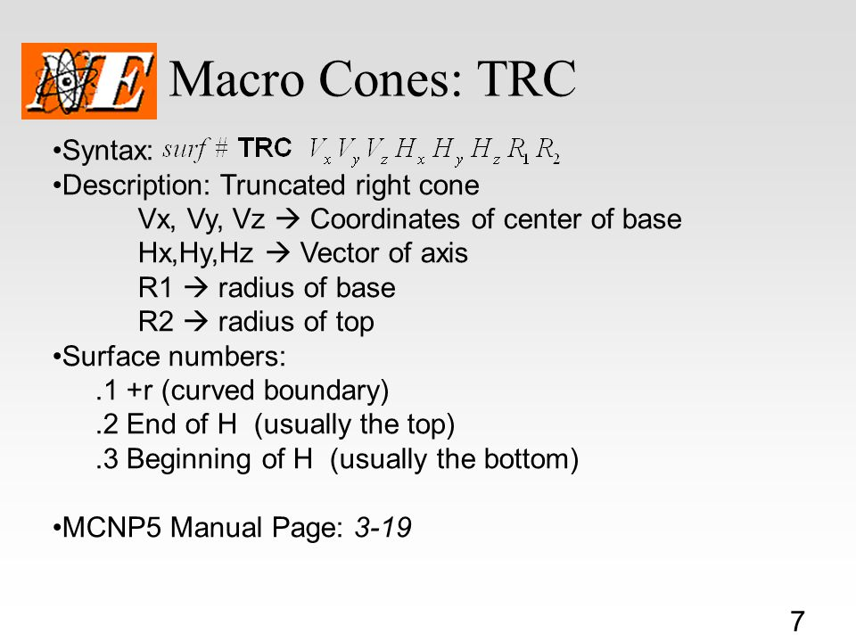 Macro Cones: TRC Syntax: Description: Truncated right cone