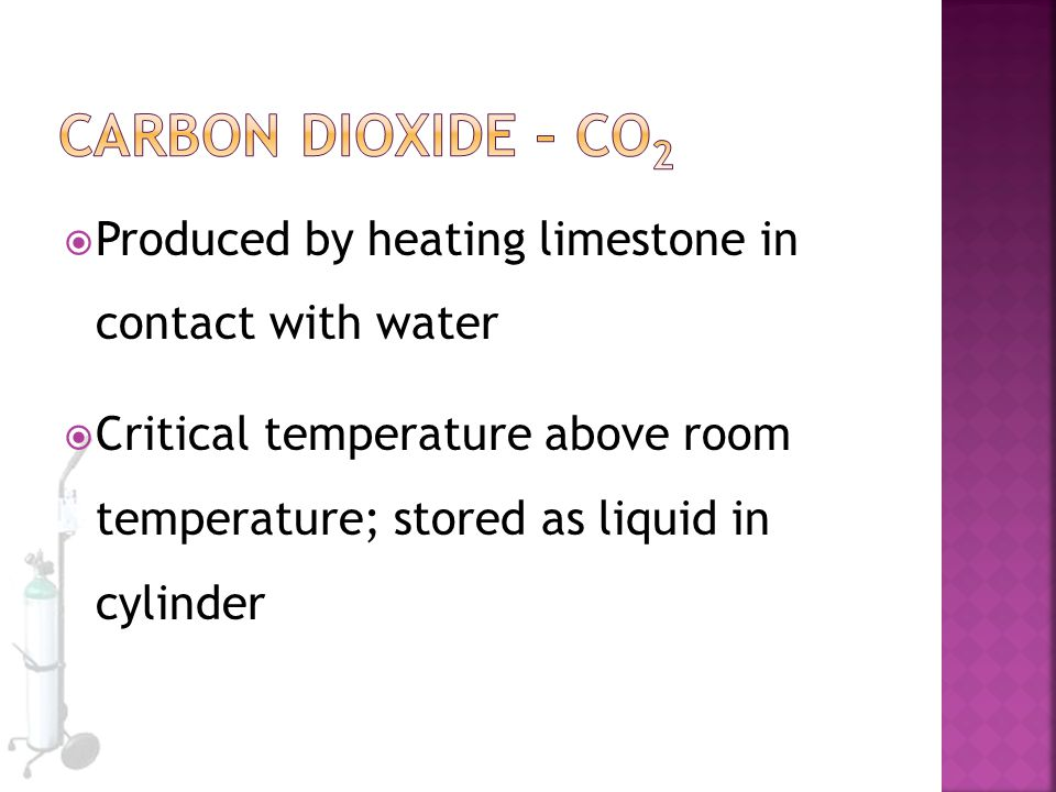 Carbon Dioxide – CO2 Produced by heating limestone in contact with water.