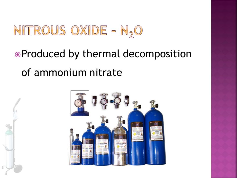 Nitrous Oxide – N2O Produced by thermal decomposition of ammonium nitrate