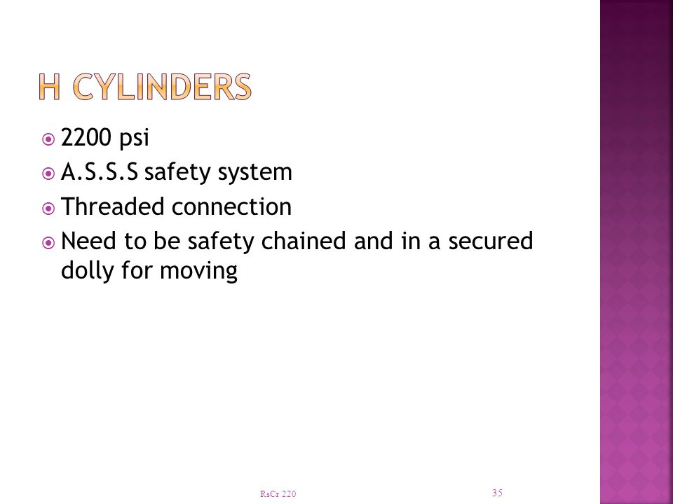 H Cylinders 2200 psi A.S.S.S safety system Threaded connection