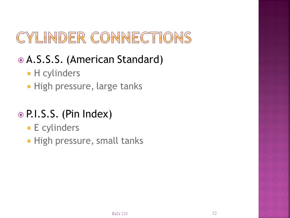 Cylinder connections A.S.S.S. (American Standard) P.I.S.S. (Pin Index)