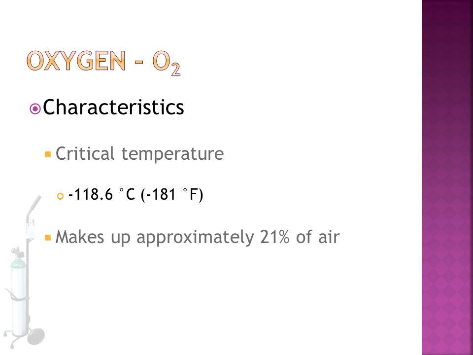 Oxygen – O2 Characteristics Critical temperature