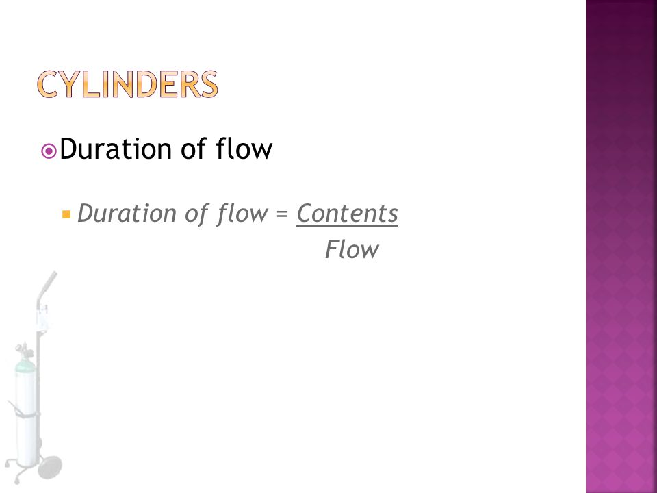 Cylinders Duration of flow Duration of flow = Contents Flow