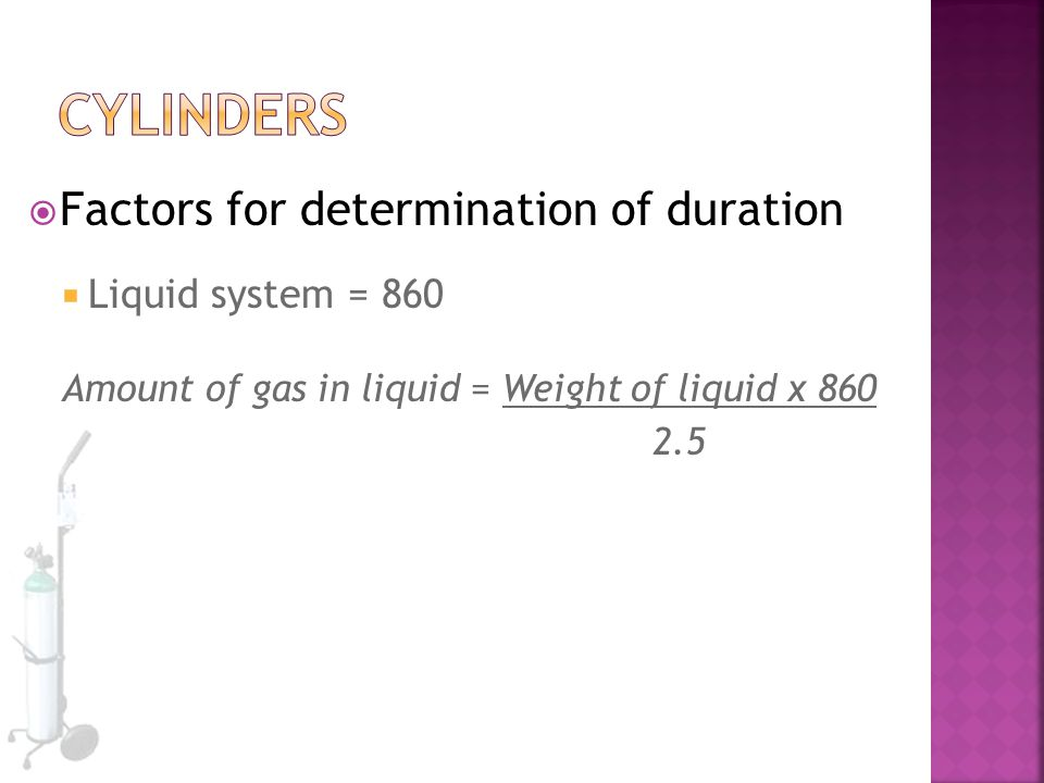 Cylinders Factors for determination of duration Liquid system = 860