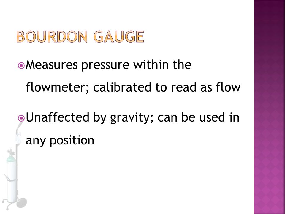 Bourdon Gauge Measures pressure within the flowmeter; calibrated to read as flow.