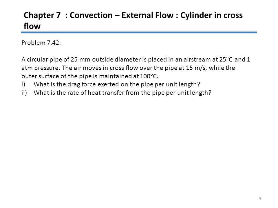 Chapter 7 : Convection – External Flow : Cylinder in cross flow