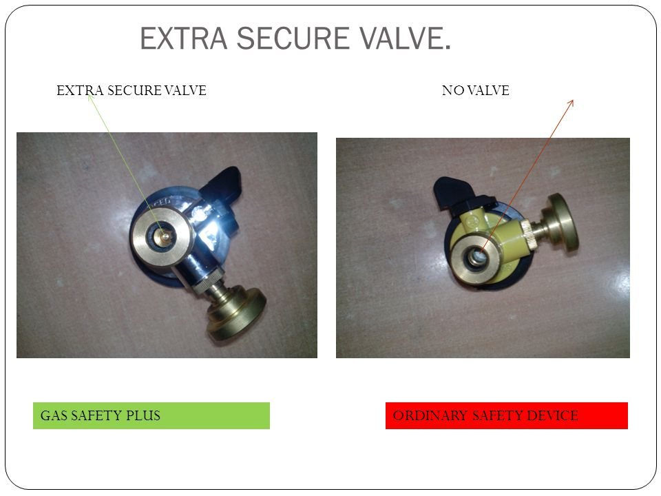EXTRA SECURE VALVE. EXTRA SECURE VALVE NO VALVE GAS SAFETY PLUS