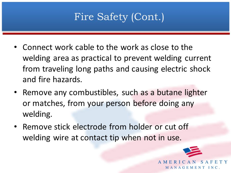 Fire Safety (Cont.)