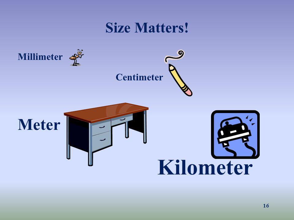 Size Matters! Millimeter Centimeter Meter Kilometer