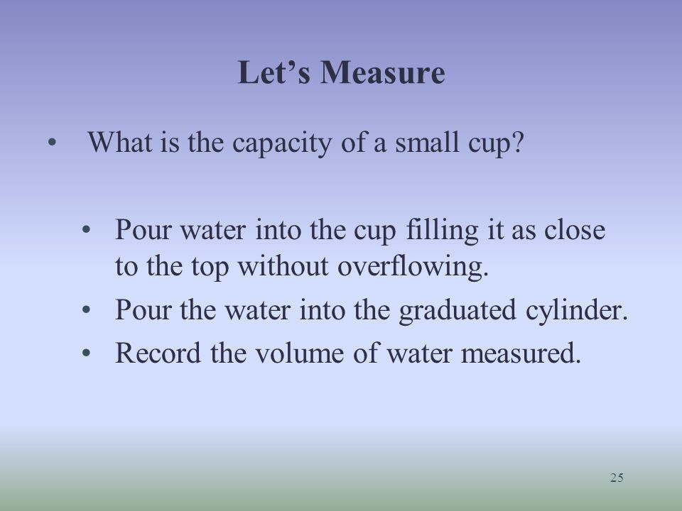 Let's Measure What is the capacity of a small cup