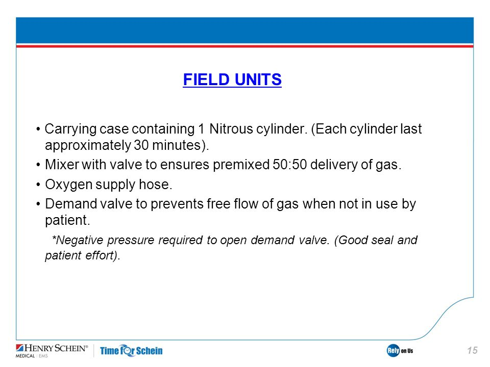 FIELD UNITS • Carrying case containing 1 Nitrous cylinder. (Each cylinder last approximately 30 minutes).