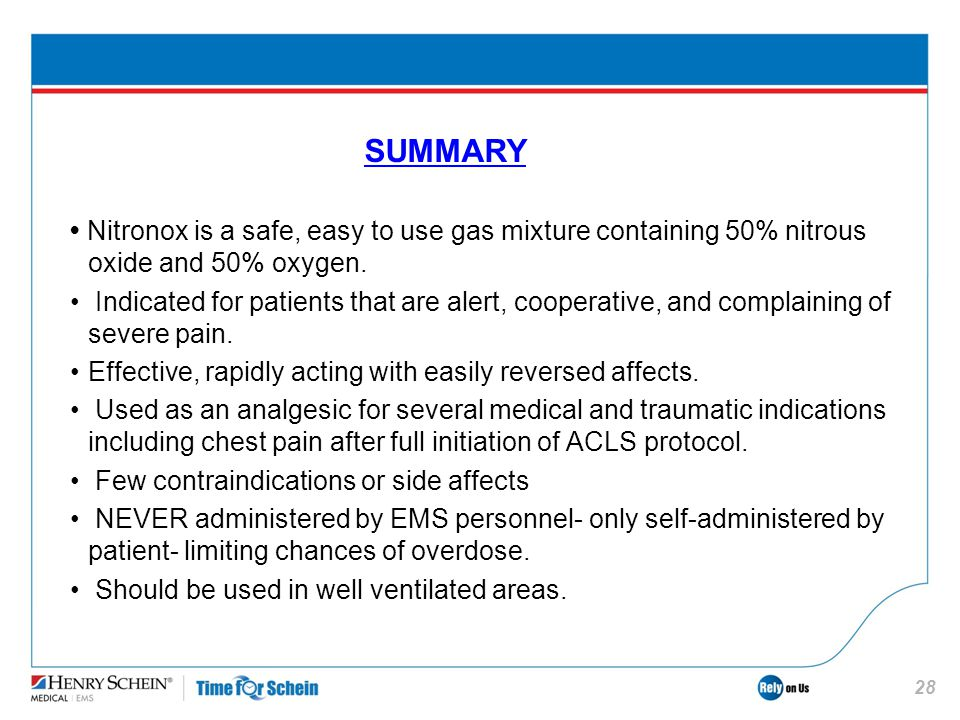 SUMMARY • Nitronox is a safe, easy to use gas mixture containing 50% nitrous oxide and 50% oxygen.