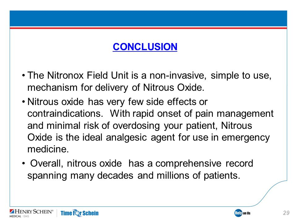 CONCLUSION The Nitronox Field Unit is a non-invasive, simple to use, mechanism for delivery of Nitrous Oxide.