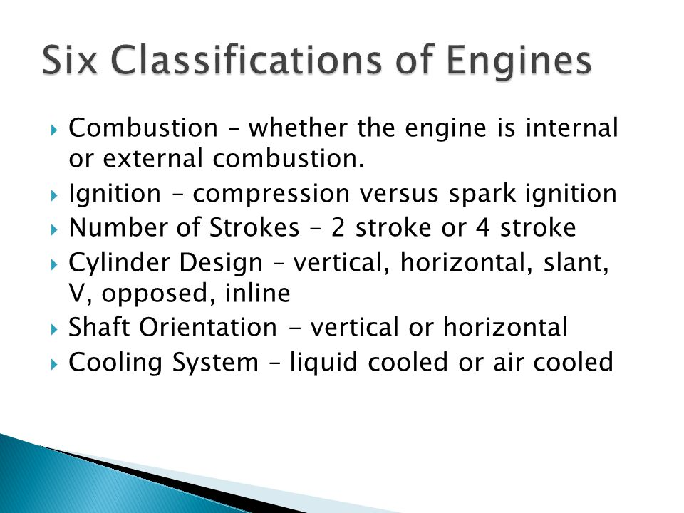 Six Classifications of Engines