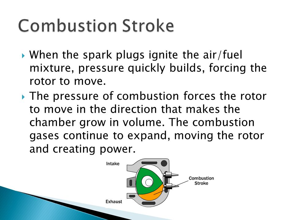 Combustion Stroke When the spark plugs ignite the air/fuel mixture, pressure quickly builds, forcing the rotor to move.
