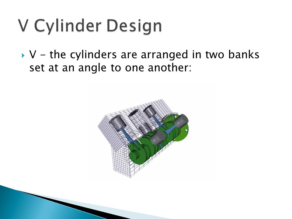 V Cylinder Design V - the cylinders are arranged in two banks set at an angle to one another: